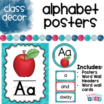 Alphabet Posters Coral and Teal