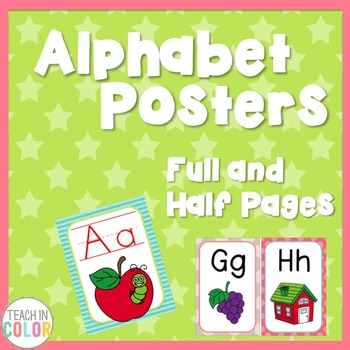 Alphabet Posters - Country Cool - Teal, Green, Coral, Gray, Tan - 4 Versions