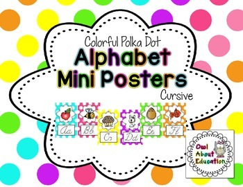 Alphabet Posters - Cursive {Bright Polka Dot}