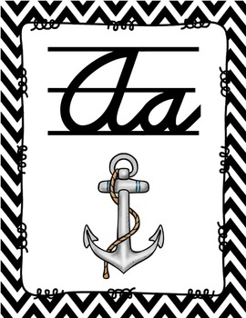 Alphabet Posters Cursive Lined {Chevron}
