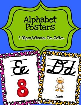 Alphabet Posters Cursive-Lined {Polka-Dots}