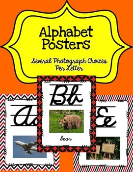 Alphabet Posters Cursive-Lined (Red and Black)