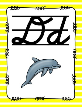 Alphabet Posters Cursive-Lined {Stripes}