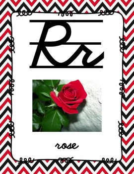Alphabet Posters Cursive-Lined (Red and Black Chevron)