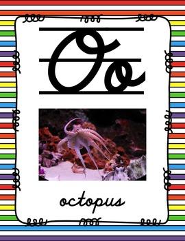 Alphabet Posters Cursive-Lined (Stripes)