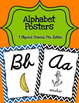 Alphabet Posters Cursive Unlined {Chevron}