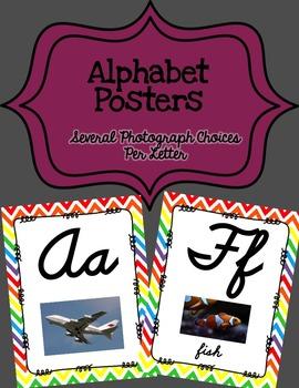 Alphabet Posters Cursive-Unlined (Chevron)
