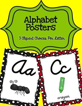 Alphabet Posters Cursive-Unlined {Polka-Dots}