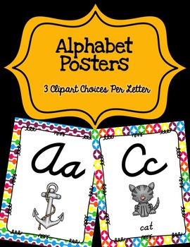 Alphabet Posters Cursive-Unlined {Rainbow}