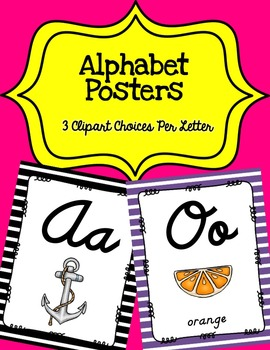 Alphabet Posters Cursive-Unlined {Stripes}