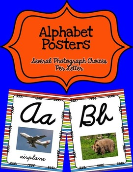 Alphabet Posters Cursive-Unlined (Stripes)