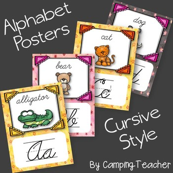 Alphabet Posters Cursive with Animals
