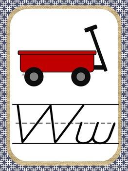 Alphabet Posters (D'Nealian Style) Kelly Green, Navy & Burlap Theme