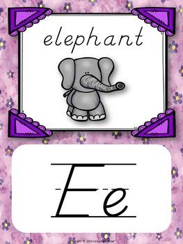Alphabet Posters D'Nealian with Animals