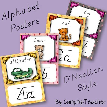 Alphabet Posters D'Nealian with Animals