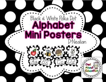 Alphabet Posters - D'Nealian {Black & White Polka Dot}