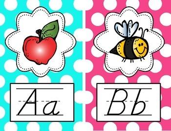 Alphabet Posters - D'Nealian {Bright Polka Dot}