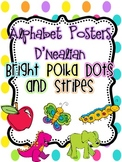 Alphabet Posters D'Nealian {Bright Polka Dots and Stripes}