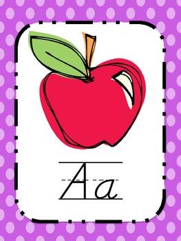 Alphabet Posters D'Nealian {Bright Polka Dots and Stripes}