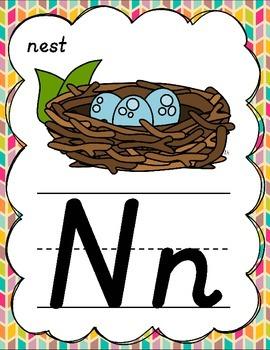 D'Nealian Alphabet Posters for Classroom Decor (Tropical Herringbone)