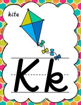 D'Nealian Alphabet Posters for Classroom Decor (Tropical Hexagons)
