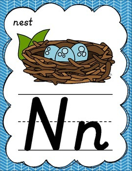 D'Nealian Alphabet Posters for Classroom Decor (Green, Teal, & Blue)