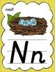 D'Nealian Alphabet Posters for Classroom Decor (Gray & Yellow)