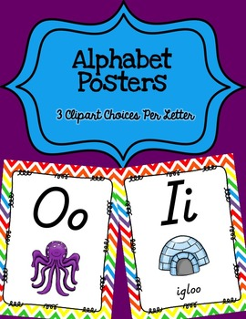 Alphabet Posters D'Nealian {Unlined with Chevron Background}