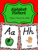 Alphabet Posters D'Nealian {Unlined with Red and Black Chevron)