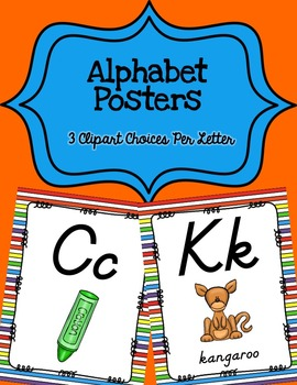Alphabet Posters D'Nealian {Unlined with Striped Background}