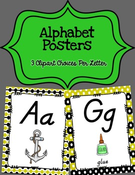 Alphabet Posters D'Nealian {Unlined with Yellow and Black}
