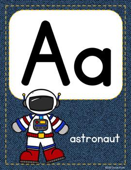 Classroom Decor Alphabet Posters - Denim Background ABC