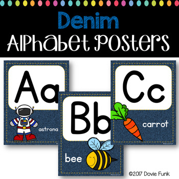 Classroom Decor Alphabet Posters - Denim Background ABC