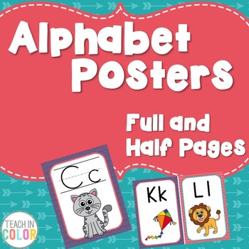 Alphabet Posters - Dots, Green, Purple, Teal, Red - 4 Versions