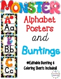 Alphabet Posters, Editable Bunting & Worksheets Monster Theme