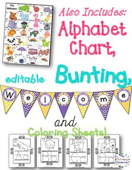 Alphabet Posters, Editable Bunting & Worksheets {Polka Dot Chevron Theme}
