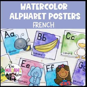 Alphabet Posters FRENCH / Affiches d'alphabet // watercolor brights