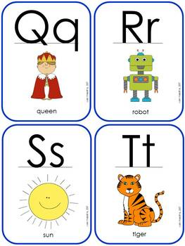 Alphabet Posters, Flash Cards, and ABC Initial Sounds Chart