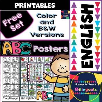 Alphabet Posters - Free Set - Color and B&W Versions