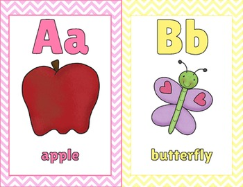 Alphabet Posters, Full / Half page & Flash Cards! Pastel & Chevron