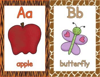 Alphabet Posters, Full / Half page  - ZisforZebra - Animal Print