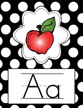 Alphabet Posters - Full Page {Black & White Polka Dot}