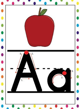 Alphabet Posters *Full Size, Lined Zaner Bloser, Directional Arrows, Poka Dots