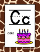 Alphabet Posters - Giraffe Print Background - With Picture Clues