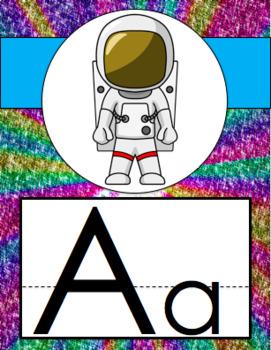 Alphabet Posters Glitter Rainbow Theme