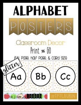 Alphabet Posters Gold Glitter