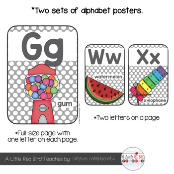 Alphabet Posters (Gray & White Polka Dot)
