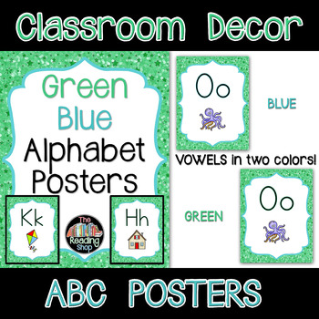 Alphabet Posters Green and Blue and Stars Theme