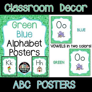 Alphabet Posters - Green Blue - Letter Size - Classroom Decor