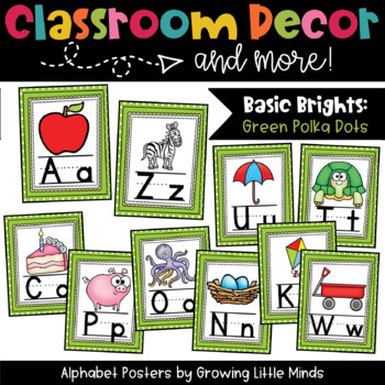 Alphabet Posters- Green Polka Dots